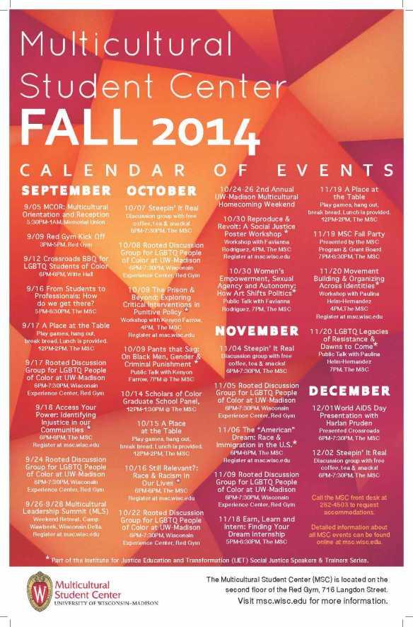 The full calendar for MSC events, Fall 2014.